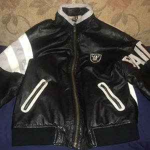 brand new f704f d523a VINTAGE Leather Oakland Raiders Jacket RARE